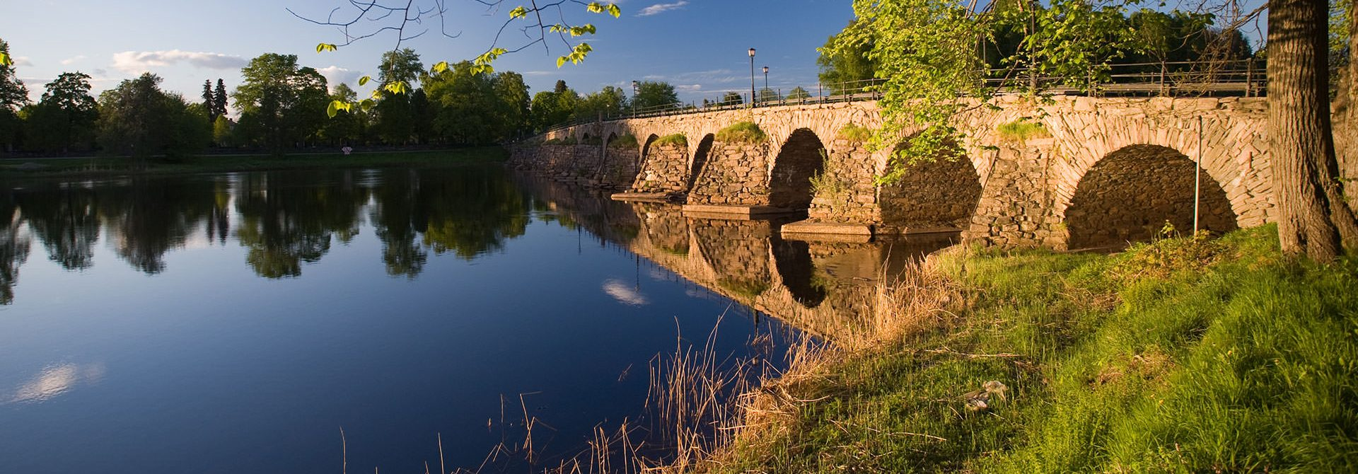 Stone bridge over river